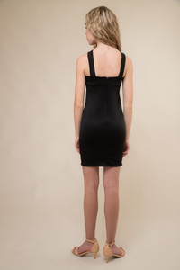 Black X-Front Fitted Dress in Longer Length back.