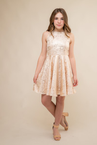Gold Jacquard Racer Back Dress in Longer Length.