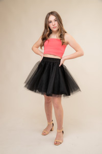Coral Strapless Top with Exposed Zipper.