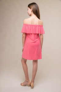 Coral Off the Shoulder Tiered Dress
