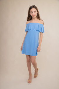 Baby Blue Off the Shoulder Tiered Dress.