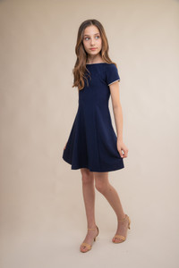 Navy and Ivory Short Sleeve Flare Dress in Longer Length.