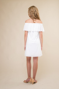 White Off the Shoulder Tiered Dress