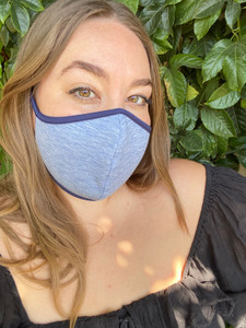 Reversible Face Mask in Chambray and Navy