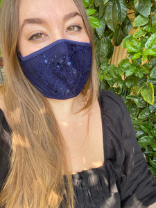 Navy Sequin Lace Mask.