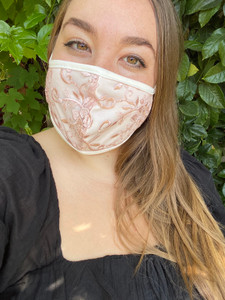 Blush Pink Floral Lace Mask.