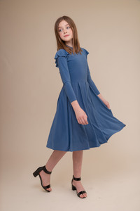 Storm Blue Long Sleeve Dress with Ruffle in Longer Length.