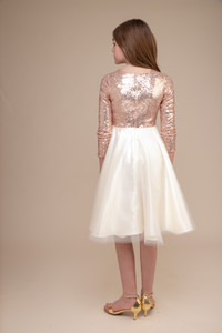 Rose Gold Sequin Party Dress with Longer Tulle Skirt
