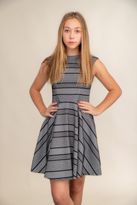 Black and White Texture Cap Sleeve Dress in Longer Length.