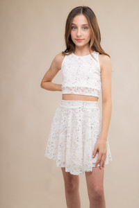 Ivory Sequin Cropped Lace Top and Skater Skirt Set.