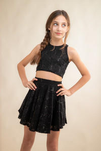 Black Sequin Cropped Lace Top and Skater Skirt Set.