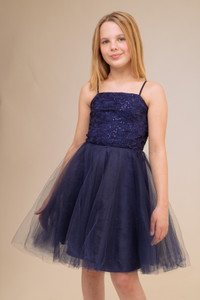 Navy Sequin Lace Tulle Party Dress in Longer Length