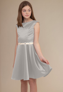 Silver Satin Cap Sleeve Dress in Longer Length with Belt