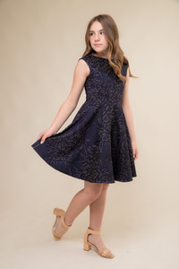 Navy and Gold Cap Sleeve Dress in Longer Length.