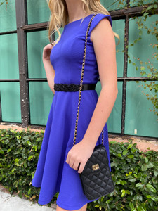 Black Quilted Cross Body Bag.