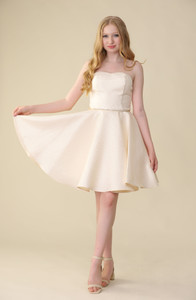 Gold Quilted Strapless Dress in Longer Length