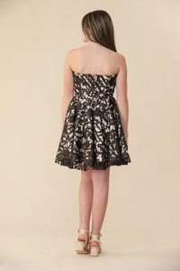 Black and Nude Lace Strapless Dress.