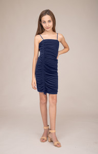 Navy Ruched Spaghetti Strap Dress in Longer Length