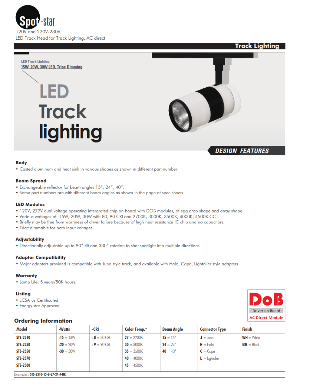 STS-2310  120V and 220V-230VLED Track Head Track Lighting