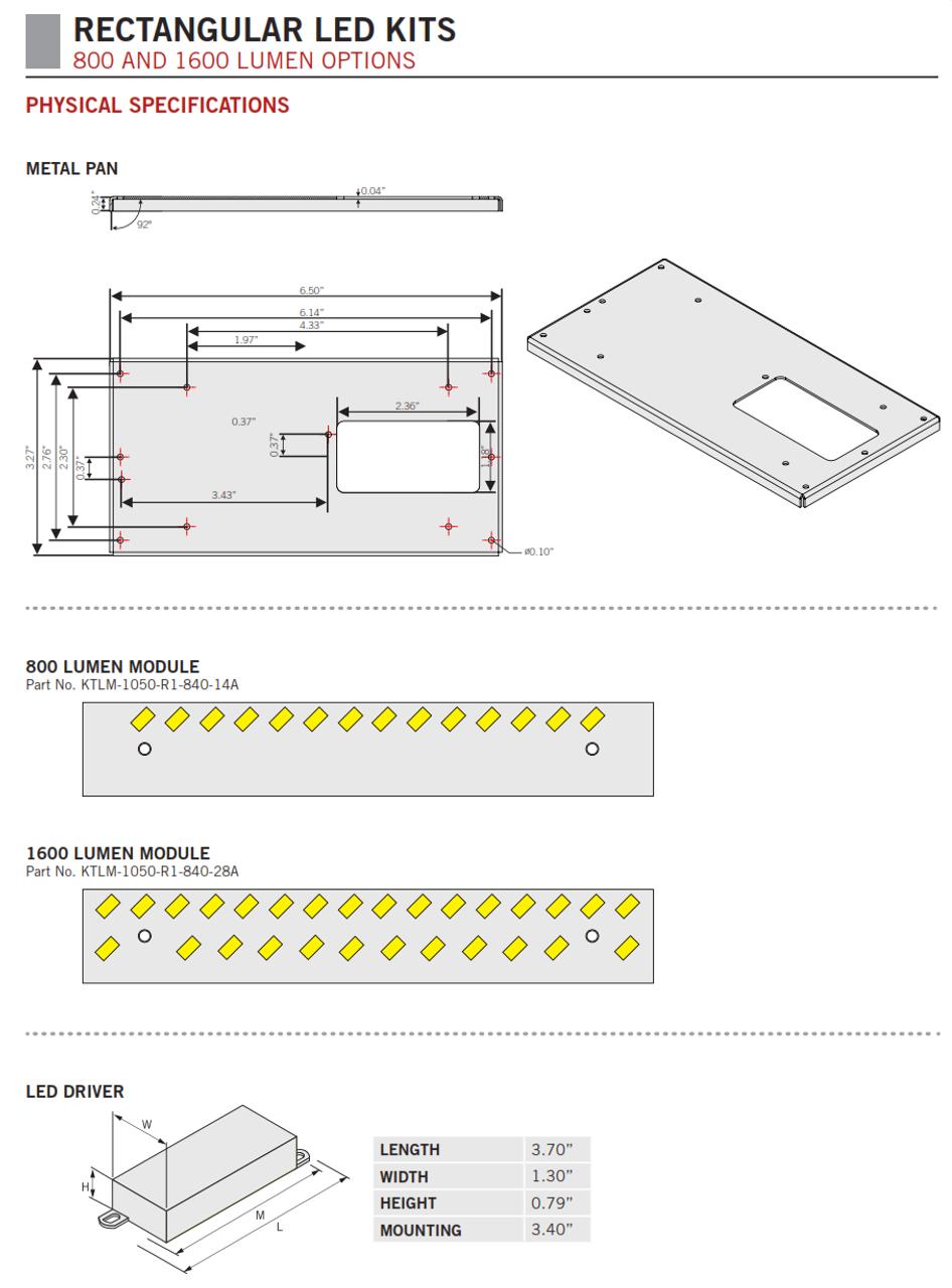 KT-RKIT L.E.D. Rectangular Retrofit Kits