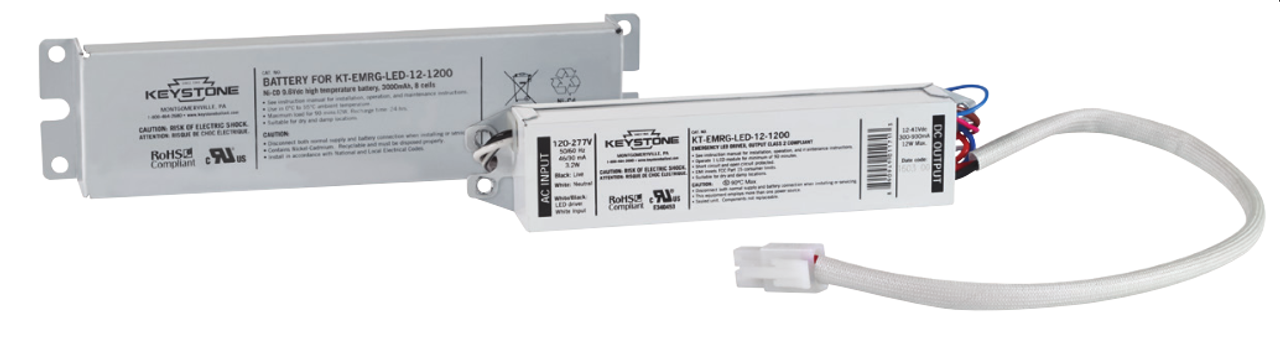 The KT-EMERG-LED-12-1200-K1 from Keystone is an intelligent LED emergency back-up that works with virtually any LED fixture, direct-wire LED tubes, or fluorescent fixture. This constant wattage LED emergency back-up drives dedicated LEDs at 12 Watts producing 1,200 lumens for a minimum of 90 minutes. The battery is separate from the driver, and the battery pack has a metal shroud so it can be mounted remotely from the fixture, which means no interference with the design of LED fixtures. A 2-in-1 LED test switch and indicator light provides users with instant reassurance that the system is operating.