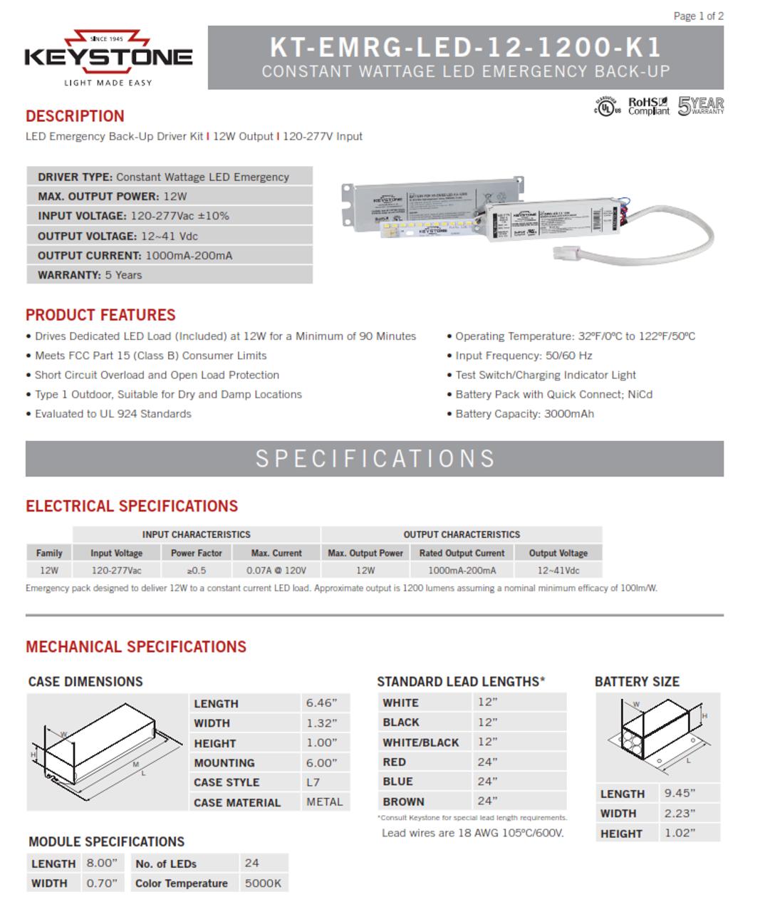 Keystone KT-EMRG-LED-12-1200-K1- LED Emergency Backup