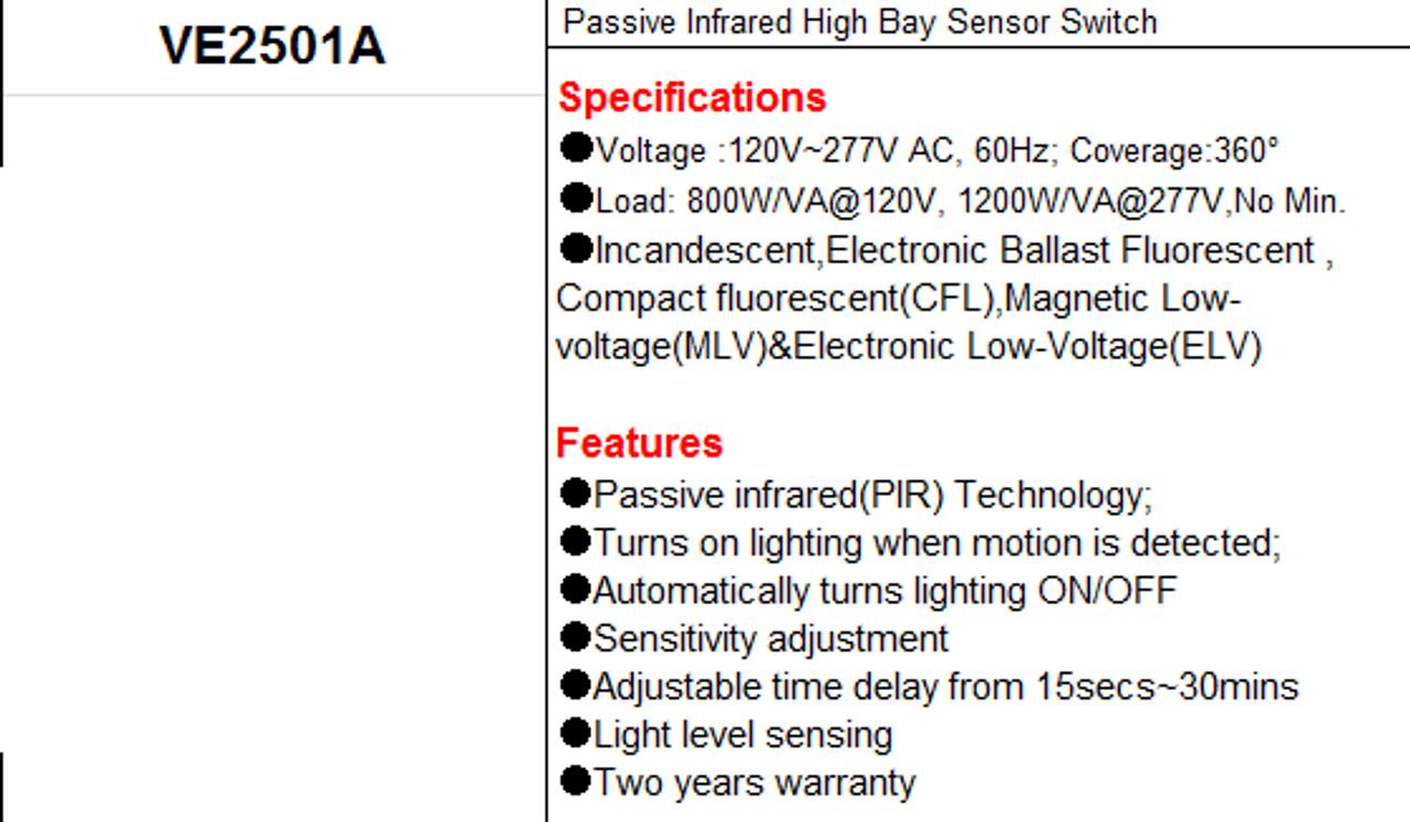 YM2501A   Fixture Mount Occupancy Sensor