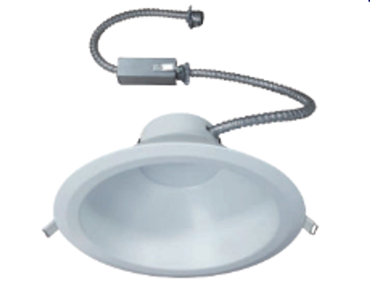 """The VSFK8 is a Commercial grade, DoB, AC Direct LED, Recessed Downlight Retrokit with integral one piece housing and mouse-trap spring clips to allow for easy installation. Designed for use with existing 8"""" Commercial Incandescent, Fluorescent and Metal Halide Housings. It is also compatible with most 8"""" commercial housings measuring at least 6-7/8"""" high, with apertures between 8"""" and 8-3/4"""". Available with a 15W, 20W, 30W or 40W, high efficacy Universal voltage, DoB LED module with Triac and 0-10V dimming. The optical diffuser produces high lumen transmission and even ilumination. Suitable for Damp Locations"""
