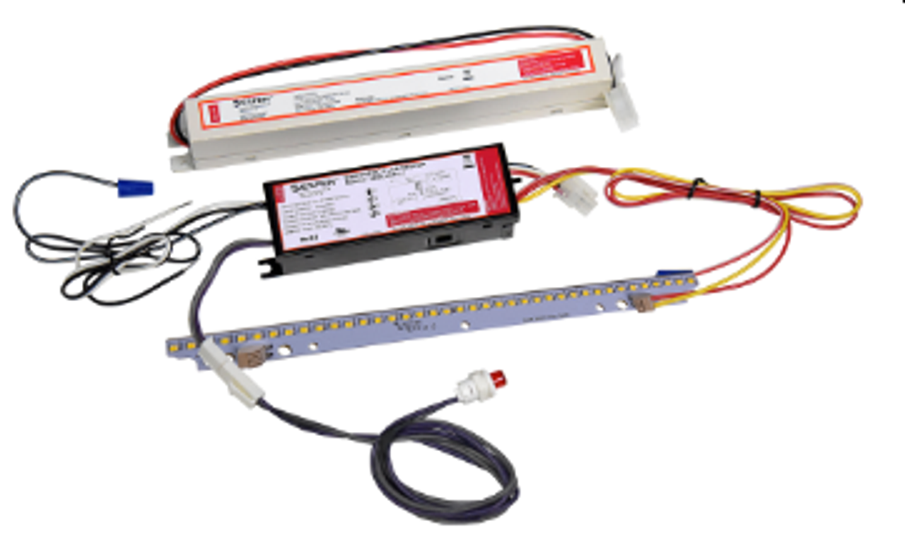 LED EMERGENCY DRIVER Description: Our VEM-K Series can be used on a large array of Lighting Fixtures for both T5 and T8 installations.  The VEM-K1500, LED emergency back-up kit includes constant wattage emergency driver, battery, high efficacy LED module and LED charging indicator light. The emergency back-up kit provides emergency lighting solution in different lighting fixture/luminaire with input power source of 120-277VAC.  VEM-K1500 switches to emergency mode when power fails, the kit gives constant 1500lm with 5000K LED module for a minimum of 90 minutes.  Electrical: ● Multi voltage (120-277VAC 50/60Hz) ● Maintenance-free, long-life, high temperature LiFePO4 battery ● Safety extra low output voltage: 12-50VDC ● Rated 10W for 90 minutes  Installation: ● For use with unswitched fixtures ● Does not affect existing lighting fixture/luminaire ● Suitable for damp and dry location ● Ambient temperature: 0°C/30°F - 60°C/140°F  Warranty: ● 5 Years ● UL, cUL, UL924 listed FCC Part 15 Class A, Compliance to EN 61547/1995+A1/2000