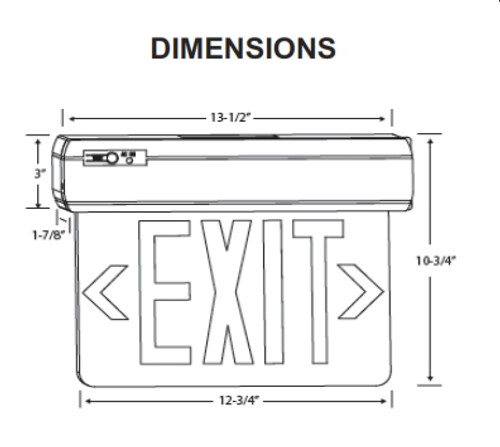 Surface Mount Thermoplastic Edgelit Exit Sign