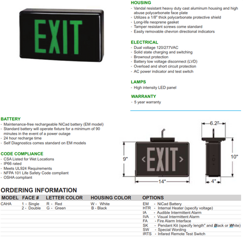 Cast Aluminum High Abuse LED Exit Sign