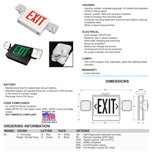 Thermoplastic Exit/Emergency Combination Sign