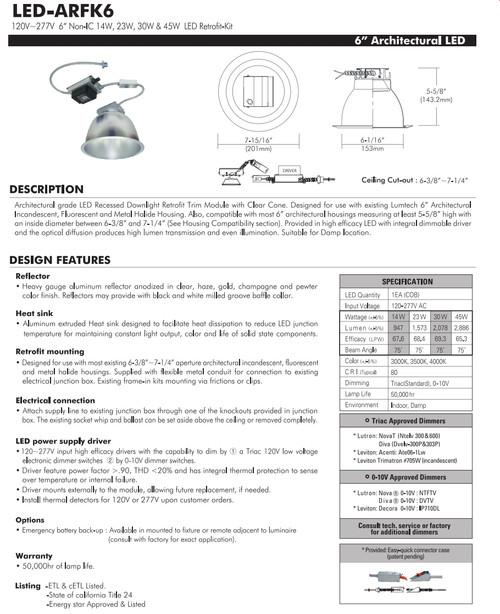 """LED-ARFK6  120V~277V Non-IC 6"""" 14W, 23W, 30W & 45W LED Retrofit-Kit"""