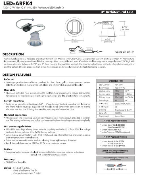 """LED-ARFK4 120V~277V Non-IC 4"""" 14W, 23W Architectural LED Retrofit-Kit"""