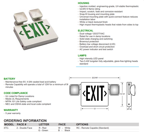 Articulating Exit and Emergency Combination Sign