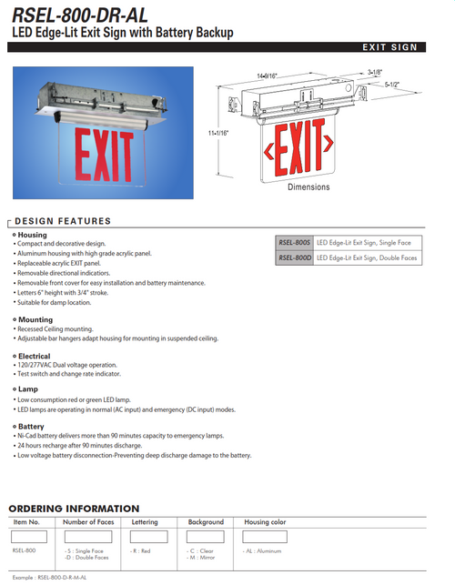 RSEL-800 Adjustable LED Edgelit Exit Sign with Battery Backup(Ceiling and Wallmount)