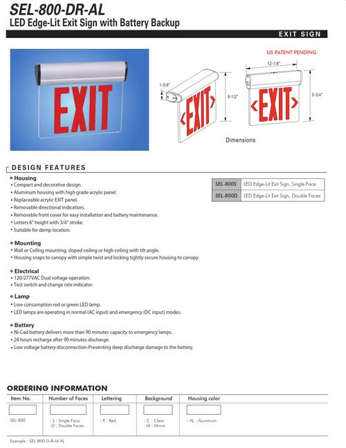 SEL-800 LED Adjustable Surface Mount Edgelit Exit Sign with Battery Backup