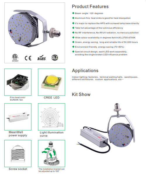 L.E.D. 30-300 Watt Round Retrofit Kit for H.I.D. Lamps