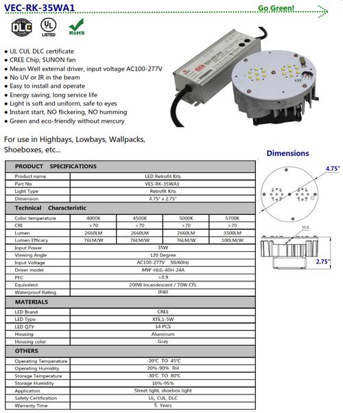 35 Watt LED Retrofit Kit for Shoeboxes, Wallpacks, Cobra Heads Highbay, etc.
