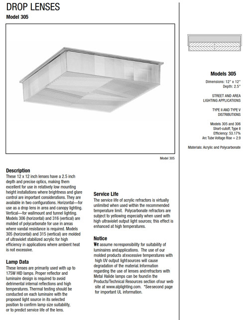 "LEX-305-A  12"" x 12"" Acrylic Lens Replacement for Canopy Fixtures"