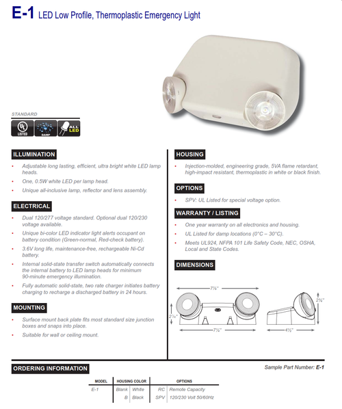 E-1   LED Low Profile, Thermoplastic Emergency Light