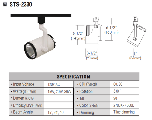 STS-2330  120V and 220V-230VLED Track Head Track Lighting
