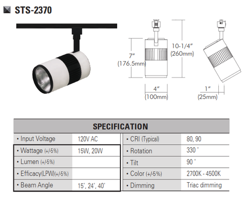 STS-2370  120V and 220V-230VLED Track Head Track Lighting