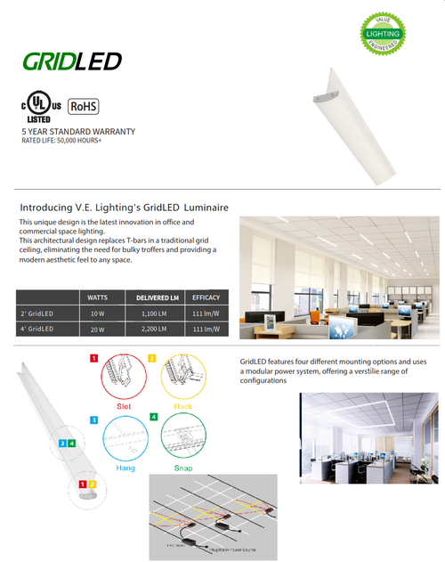 T-Grid L.E.D. Lighting System for Commercial Office