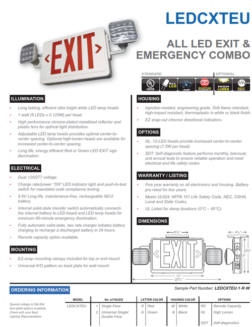 LEDCXTEU  LED Exit and Emergency Combination Sign