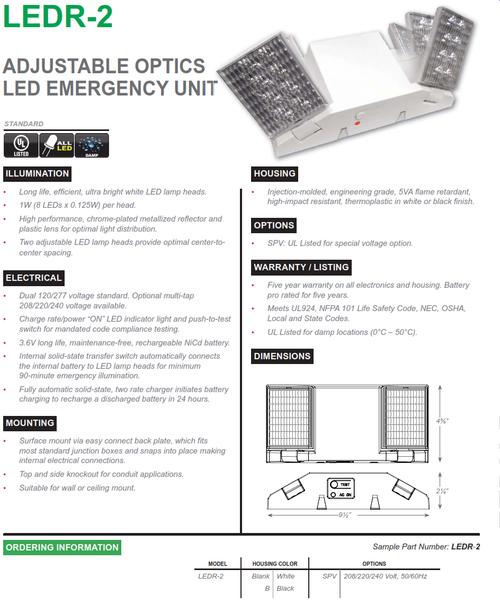 LEDR-2   Adjustable Optics LED Emergency Unit