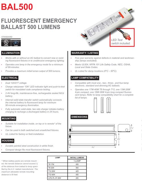$31.95   BAL500 500 Lumen Fluorescent Emergency Ballast