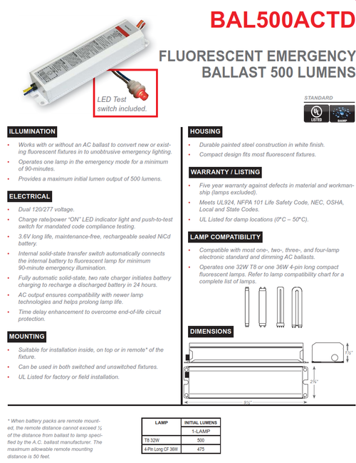 BAL500ACTD  500 Lumen Emergency Fluorescent Ballast, AC Output with Time Delay Emergency