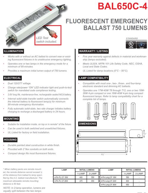 BAL650C-4   750 Lumen 4 Pin Compact Fluorescent Fluorescent Emergency Ballast