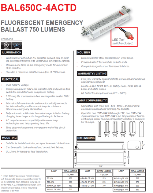 BAL650C-4ACTD   750 Lumen 4 Pin Compact Fluorescent Fluorescent Emergency Ballast, AC Output and Time Delay